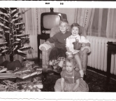 Christmas, 1957. Look at that television set!  I'm the youngest; 16 months old! Merry Christmas & Happy Trails - Beth