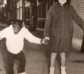 Happy Holidays!   Bingo and Patti in Chicago modeling Roller Derby Roller Skates